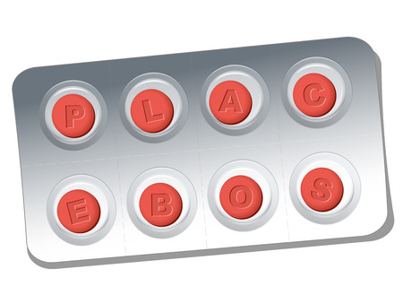 placebo: Red pills with relief letters that say PLACEBO. Isolated vector illustration on white background.