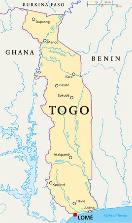 togo: Togo Political Map with capital Lom?, national borders, most important cities, rivers and lakes. English labeling and scaling.