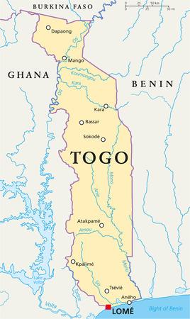 Benin Political Map With Capital PortoNovo National Borders