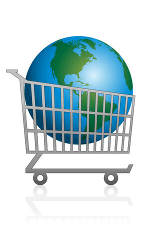 Trolley with planet earth in it for sale. Isolated vector illustration on white background.