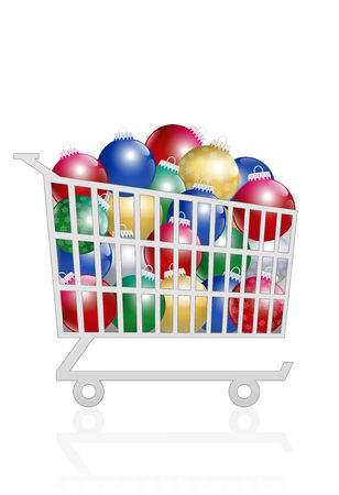 Trolley with colorful shiny christmas balls in it. Isolated vector illustration on white background.