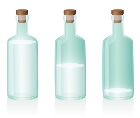 glass half full: Three glass bottles, the first one is full, the second one is half full, the third one is nearly empty. Vector illustration on white background.