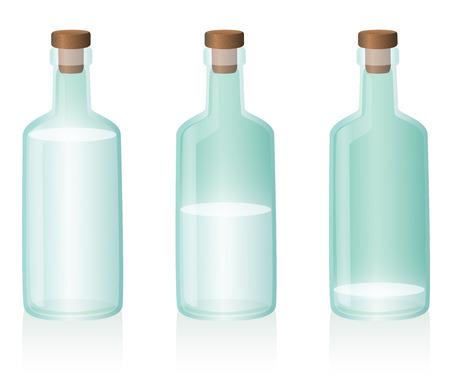 botellas vacias: Tres botellas de cristal, la primera de ellas está llena, la segunda es la mitad, la tercera es casi vacío. Ilustración vectorial sobre fondo blanco. Vectores