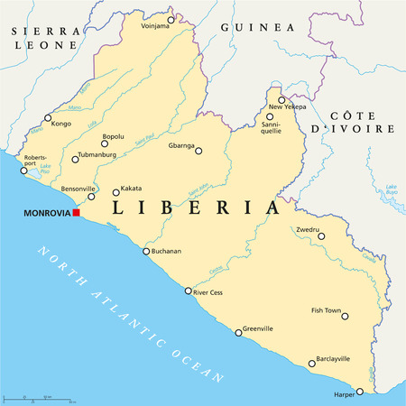 liberia: Liberia Political Map with capital Monrovia, national borders, important cities, rivers and lakes. English labeling and scaling.