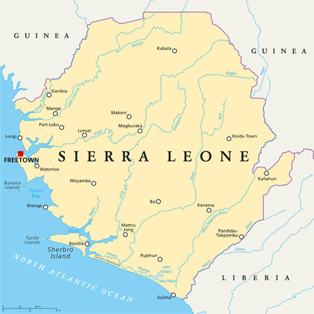 Sierra Leone Political Map with capital Freetown, national borders, important cities, rivers and lakes. English labeling and scaling. Illustration