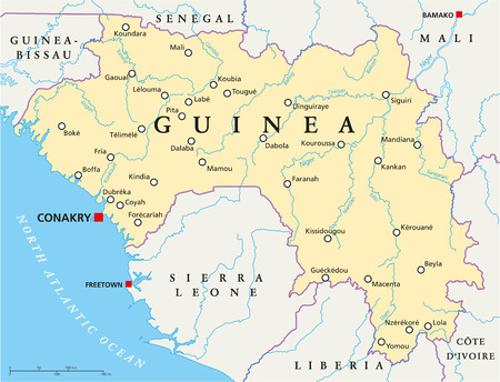 Guinea Political Map with capital Conakry, national borders, important cities, rivers and lakes. English labeling and scaling. Vector