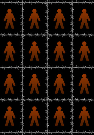 confinement: People that are separated by barbwire, a symbol for isolation. Isolated vector illustration on black background.