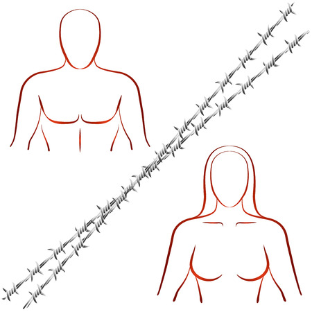 disharmony: Outline illustration of a man and a woman who are divided by a barbed wire. Isolated vector illustration on white background.
