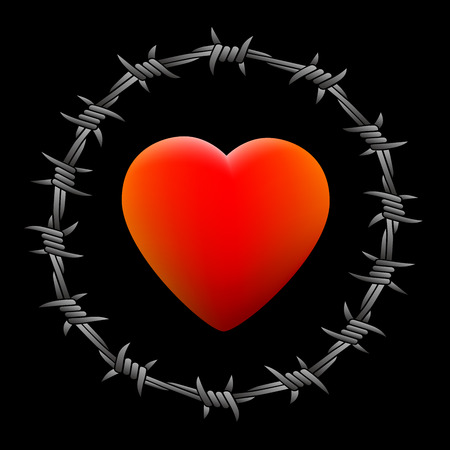 disharmony: Barbed red glowing heart. Isolated vector illustration on black background.