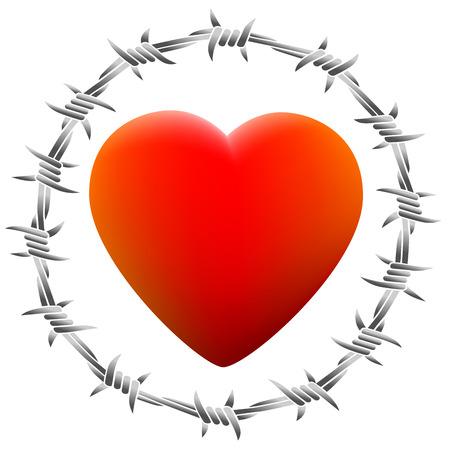 Red glowing heart surrounded by barbed wire. Isolated vector illustration on white background. Vector