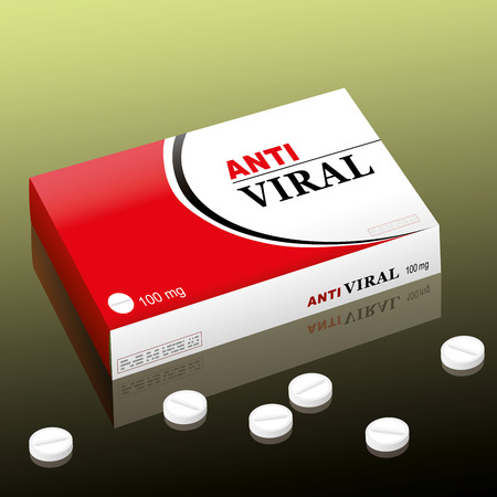 Pharmaceutical named ANTIVIRAL, a medical fake product. Vector illustration. Иллюстрация