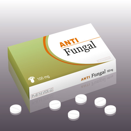 remedy: Medicine named ANTIFUNGAL with a fungus as the brand logo on the remedy package. It\