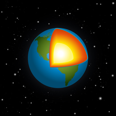 mantle: Cross section of blue planet earth with its blazing hot inner core - black background with many stars - vector illustration. Illustration
