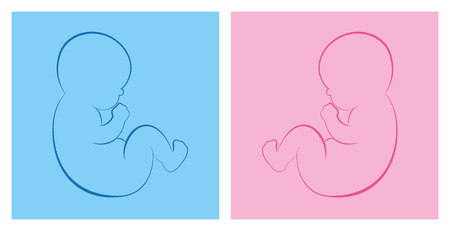 its: Baby boy and baby girl on blue and pink background. Isolated outline vector illustration.