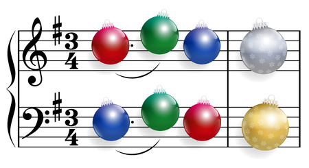 christmas music: Christmas song composed of colorful shiny christmas tree balls instead of notes. Isolated vector illustration over white background. Illustration