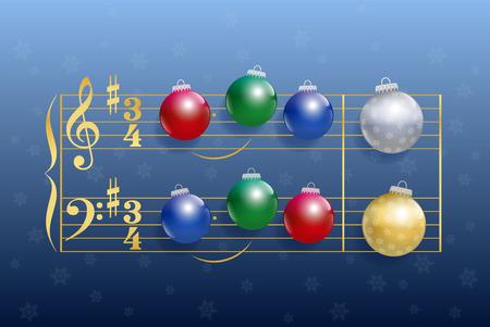 Weihnachtslied von bunten glänzenden Christbaumkugeln anstelle von Notizen. Isolierten Vektor-Illustration auf blauem Farbverlauf Hintergrund Schneefall. Standard-Bild - 33554889