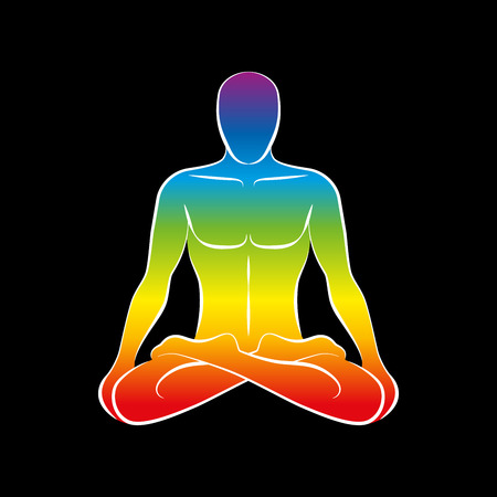 energy healing: Sitting man with a rainbow gradient colored body or soul.  Illustration