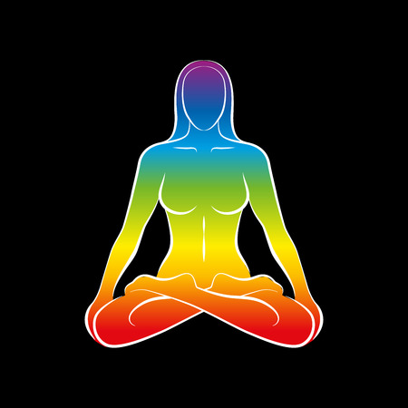 Sitting naked woman with a rainbow gradient colored body or soul. Isolated vector illustration on black background.