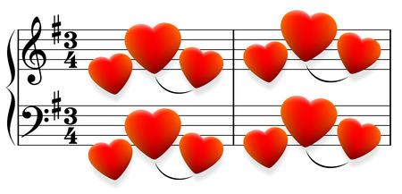 Canción de amor compuesto de corazones rojos brillantes en lugar de notas. Ilustración vectorial aislado sobre fondo blanco. Ilustración de vector