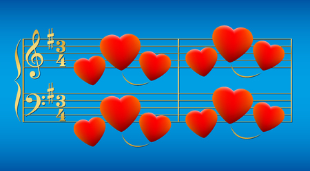 musical score: Love song composed of glowing red hearts on golden notation stave instead of notes. Isolated vector illustration on gradient blue sky background.