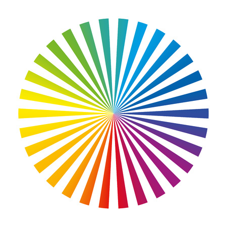 collocation: Circular color fan deck composed of thirty different vibrant ink stripes. Isolated vector illustration on white background.