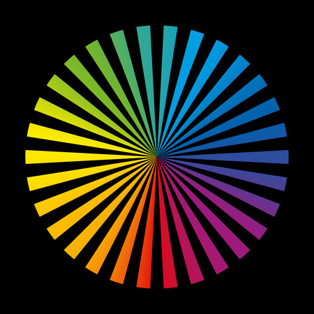 collocation: Radial collection of thirty different bright color stripes, like a spread color fan deck. Isolated vector illustration on black background.