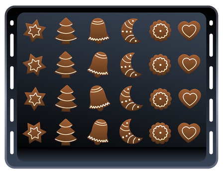 Twenty four gingerbread cookies on a baking plate. Isolated vector illustration on white background.  イラスト・ベクター素材