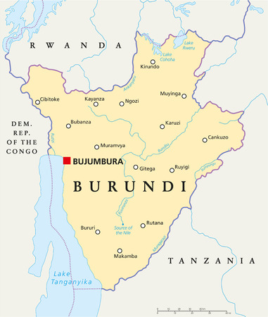 Burundi Political Map with capital Bujumbura, national borders, important cities, rivers and lakes. English labeling and scaling.