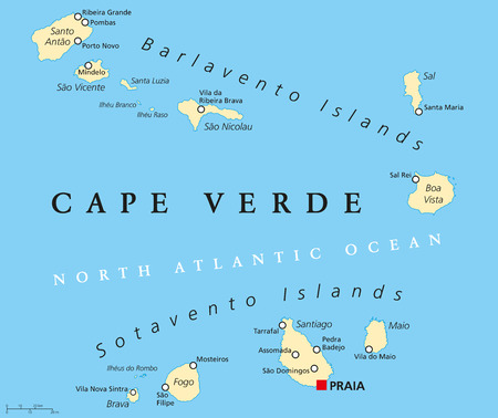 labeling: Cape Verde Political Map with capital Praia and important cities. English labeling and scaling.