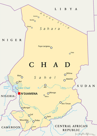 chad: Chad Political Map with capital N\\\\ Illustration