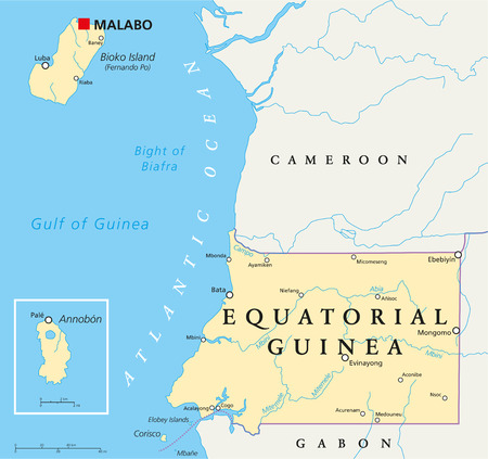 po: Equatorial Guinea Political Map with capital Malabo, national borders, important cities and rivers. English labeling and scaling.