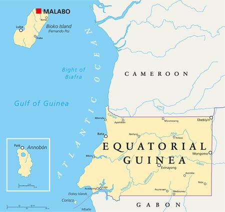 guinea equatoriale: Guinea Equatoriale Politica mappa con capitale Malabo, i confini nazionali, importanti citt� e fiumi. Etichettatura inglese e desquamazione.