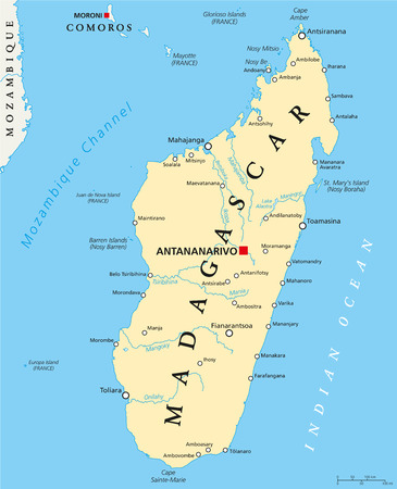 mayotte: Madagascar Political Map with capital Antananarivo, national borders, important cities, rivers and lakes. English labeling and scaling.