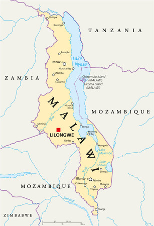 malawi: Malawi Political Map with capital Lilongwe, national borders, important cities, rivers and lakes. English labeling and scaling.
