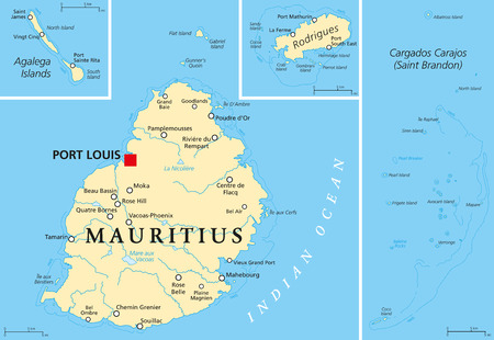 Mauritius Political Map with capital Port Louis, the islands Rodrigues and Agalega and with the archipelago Saint Brandon. English labeling and scaling.