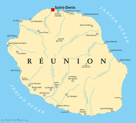 labeling: Reunion Political Map with prefecture Saint-Denis, important cities and rivers. English labeling and scaling.