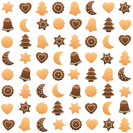 assortment: Christmas cookies assortment. Seamless wallpaper can be created. Isolated vector illustration on white background.