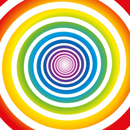 Rainbow colored gradient spiral. Isolated vector illustration on white background. Vector