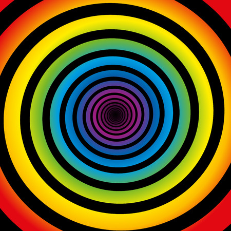 hypnotize: Rainbow colored gradient spiral. Isolated vector illustration on black background.