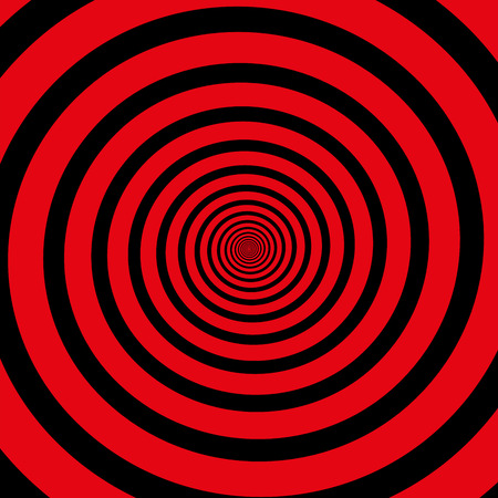 hypnotizing: Red black hypnotizing spiral. Isolated vector illustration.