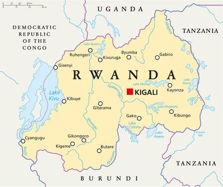 Rwanda Carte politique avec capitale Kigali, les frontières nationales, les villes importantes, les rivières et les lacs. Étiquetage anglais et mise à l'échelle. Banque d'images - 34113821
