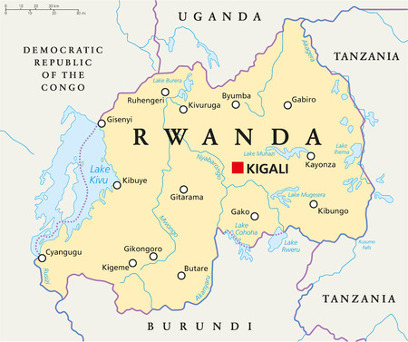 Rwanda Political Map with capital Kigali, national borders, important cities, rivers and lakes. English labeling and scaling.