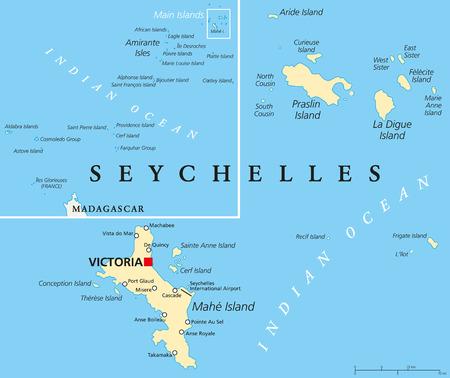 セーシェル首都ビクトリア、重要な都市、諸島、群島全体の概要地図と政治地図。英語ラベルとスケーリングします。