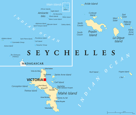 seychelles: Seychelles Political Map with capital Victoria, important cities and islands and an overview map of the whole archipelago. English labeling and scaling. Illustration