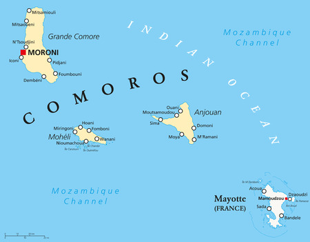 mayotte: Political Map of Comoros with capital Moroni, important cities and the islands Grande Comore, Moheli and Anjouan. With the archipelago Mayotte, an oversea department of France. Illustration