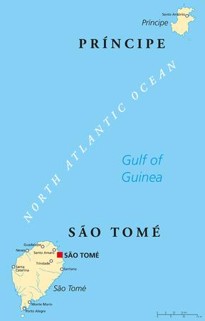 principe: Santo Tomé y Príncipe Mapa Político con el capital Santo Tomé. Nación de la isla africana en el golfo de Guinea con dos archipiélagos. Etiquetado y escalado Inglés.