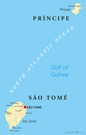 gulf: Sao Tome and Principe Political Map with capital Sao Tome. African island nation in the gulf of Guinea with two archipelagos. English labeling and scaling. Illustration