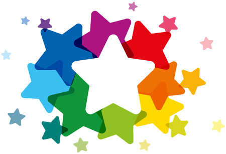 Rainbow colored stars forming a colorful cloud and frame to write your text in it. Isolated vector illustration on white background.