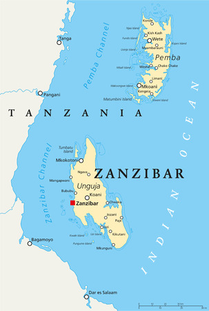 swahili: Zanzibar, political map of the semi-autonomous part of Tanzania in East Africa, an archipelago in the Indian Ocean composed of the two islands Unguja and Pemba. English labeling and scaling.