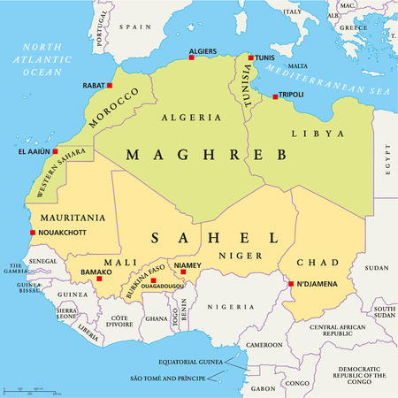 Maghreb and Sahel Political Map with capitals and national borders. English labeling and scaling. Illustration. Vector